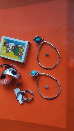 Серьги крупные замки  сережки бижутерия серебряные