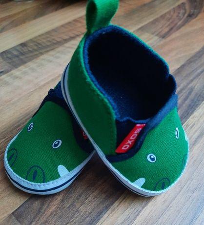 Buciki niemowlęce SOXO zielone krokodyle - rozmiar 13-15