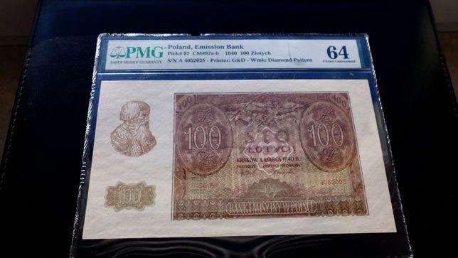 Banknot 100zł 1940 - PMG -Seria A !