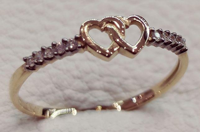 Złoty pierścionek z serduszkami w Mega cenie!!