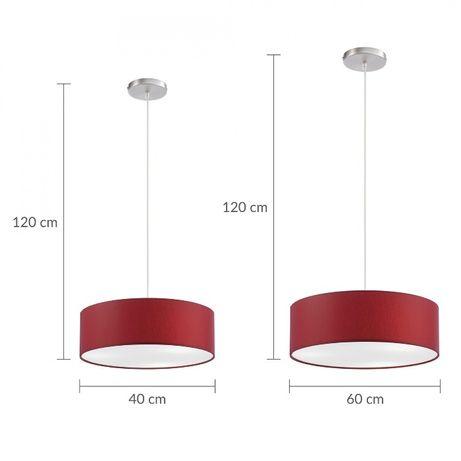 Czerwona lampa żyrandol abażur wisząca 60 cm Paul Neuhaus 8427-14