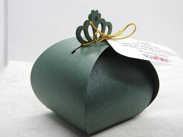 pudełka pudełeczka podziękowania dla gości glamour zieleń ślub chrzest