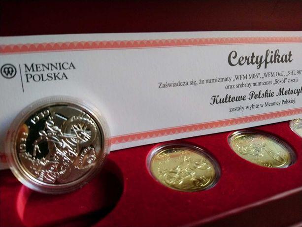 monety medale 6szt Kultowe Polskie Motocykle- KPL2014 AG srebrny sokół