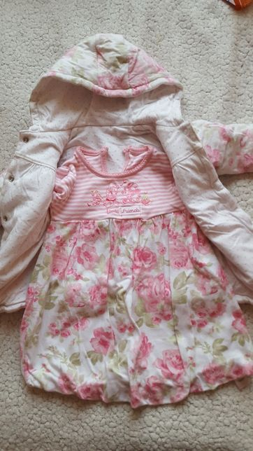 Kurtka i sukienka komplet wiosna 74-80