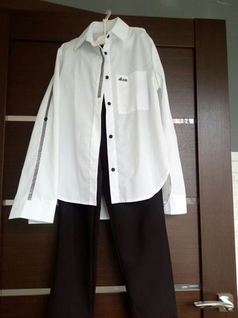 Модний образ, рубашка брюки с вьісокой талией, школа 158-164