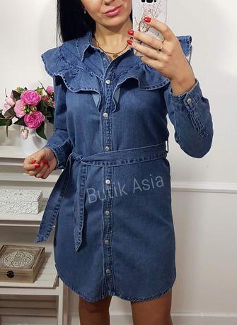 Sukienka jeansowa jeans denim 36,38,42 nowa falbanka modna
