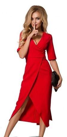 Красивое платье алого (красного) цвета - на запАх, с разрезом, Турция!