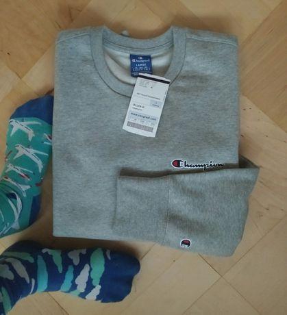 Bluza Champion crewneck L szara logo haftowane męska