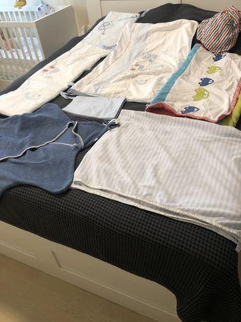 Komplet poscieli i kocykow i ochraniacz do łóżeczka dla niemowlaka