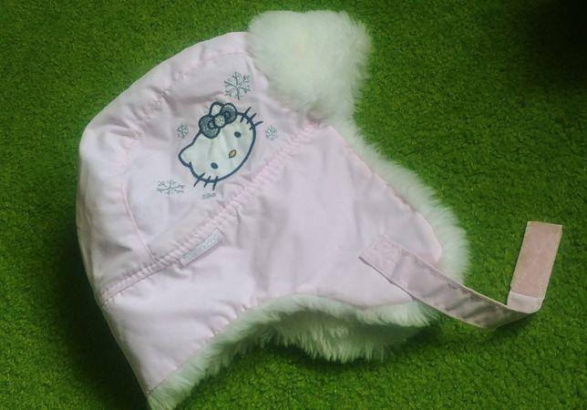 Czapka zimowa ocieplana pilotka h&m hello kitty 110 116 pudrowa różowa