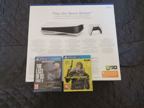 Playstation 5 z Blu-ray + Cyberpunk 2077 + The last of us 2 - od ręki