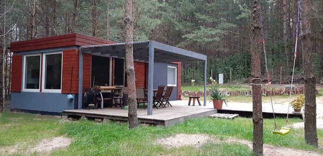 Domek letniskowy nad jeziorem, w lesie na wsi.