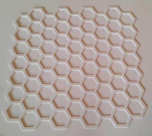 Толстый трафарет 3 мм из пластика соты шестигранники для стен