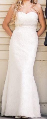 Bogato zdobiona sukienka ślubna rybka w rozm. 36