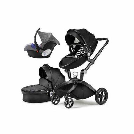 Hot mom коляска 2в1/3в1 люлька та прогулка нова еко шкіра чорна