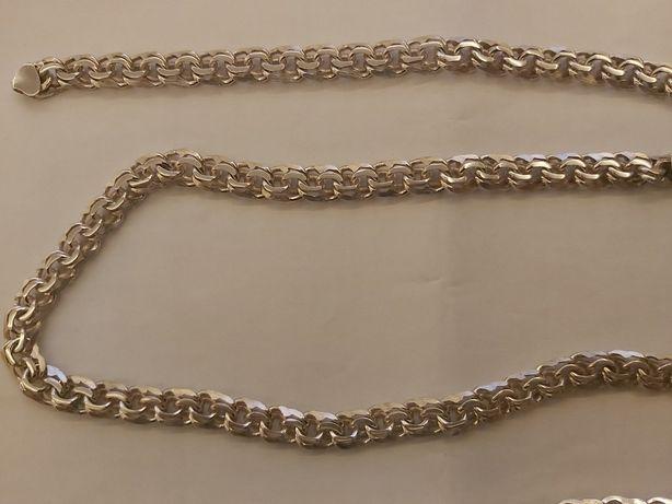 Srebrny zestaw garibaldi splot łancuch bransoleta prawie 100g komplet