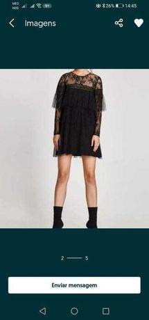 Vestido preto combinado ZARA