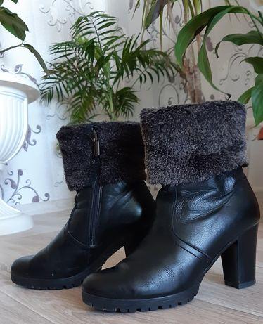 Кожаные сапоги/ ботинки зима/ шкіряні сапоги