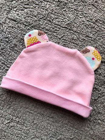 детская шапочка с ушками на девочку 3 4 месяца
