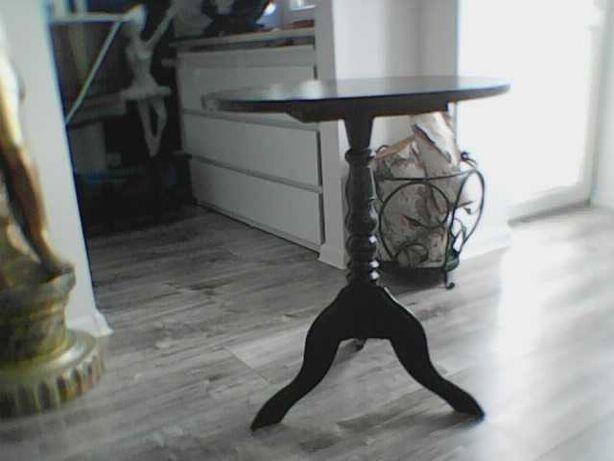 Stolik kawowy, okrągły stolik dębowy, stolik PRL, Vintage