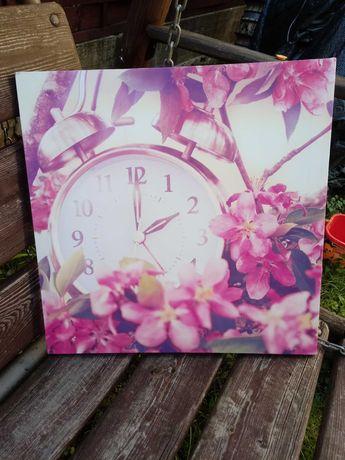 Obraz na ścianę 3D zegar kwiaty wiśni