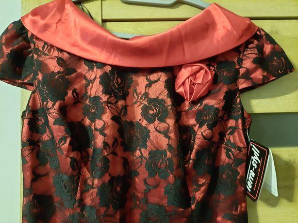Sukienka czerwona koronka czarna 40/42 Terra Styll