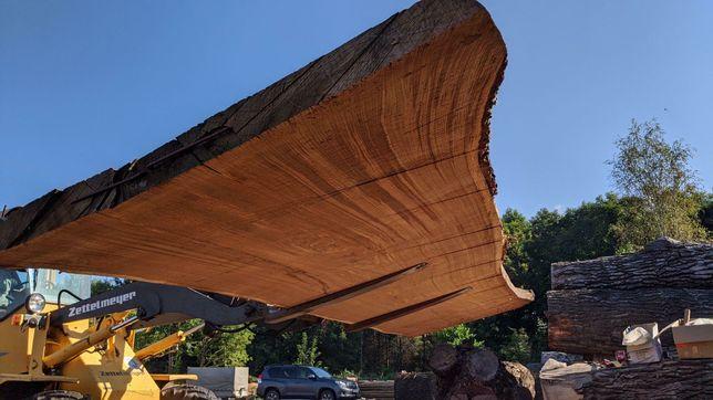 Blat dębowy monolit stół lite drewno loft live edge wood oak