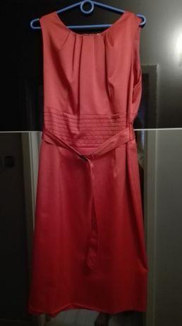 Elegancka czerwona sukienka wizytowa r 48