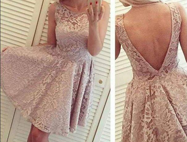 Sukienka Emma Sugarfree S koronkowa nude wesele wysyłka gratis