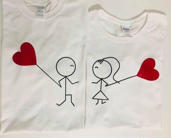 Koszulki z nadrukiem, dla par Balony