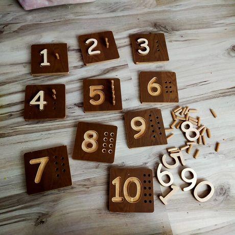 Drewniany zestaw do nauki cyferek