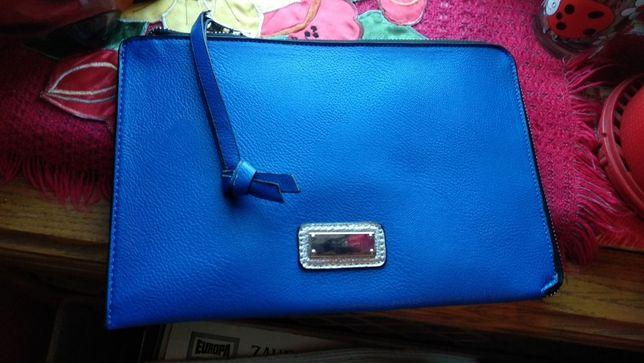 сумка дамская синий электрик типа клатч как новый фирменная на ручке