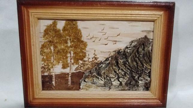 Картина с бересты размером 13х18 см.