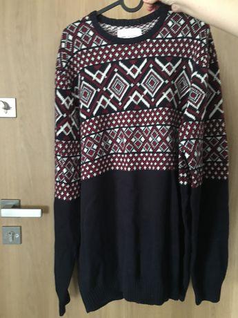 Sweter męski House zimowy wzór granatowy XXL