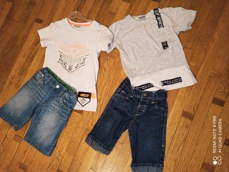 Костюм летний турецкий, джинсовые шорты, футболка на 5-7 лет