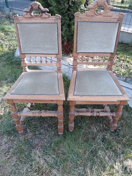 Dwa krzesła drewniane, dębowe, tapicerowane