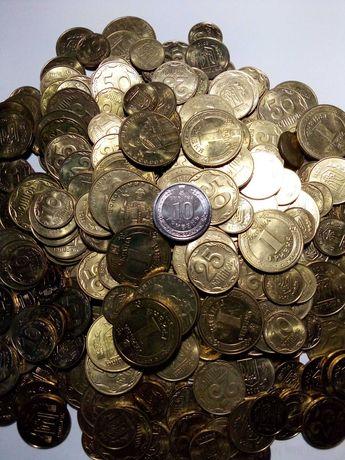 Монеты Украины 10,25,50 копеек на вес!