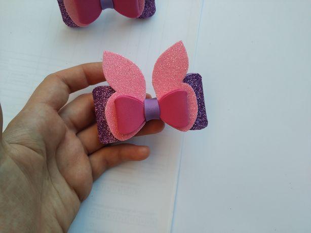 Бантик бант резинка для волос для детей девочки ушки ручная работа