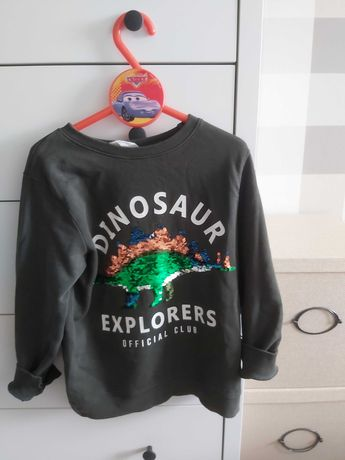 Bluza H&M dinozaur holigram 122 128