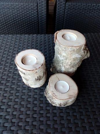 świeczniki świeczki ozdoby naturalne z brzozy brzoza