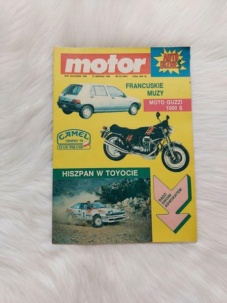 Czasopismo Motor z 1990 roku w stanie bardzo dobrym, z plakatem