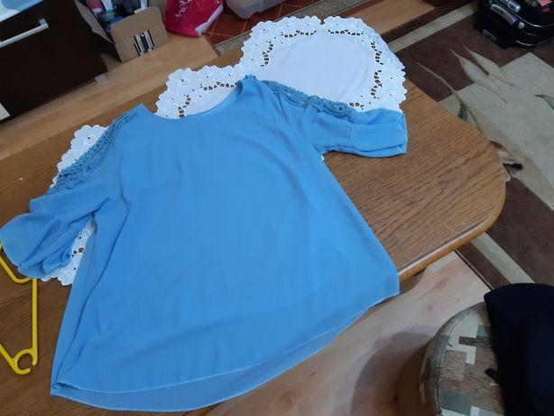 bluzka niebieska ozdobny rękaw