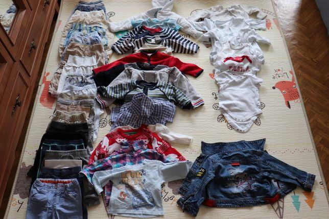 Ubranka chłopięce 0-6 m-cy + czapki, buciki, zabawki, rajstopy-gratis