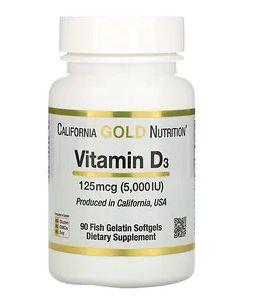 В наличии! Витамин D3, 125 мкг (5000 МЕ), 90 шт California Gold