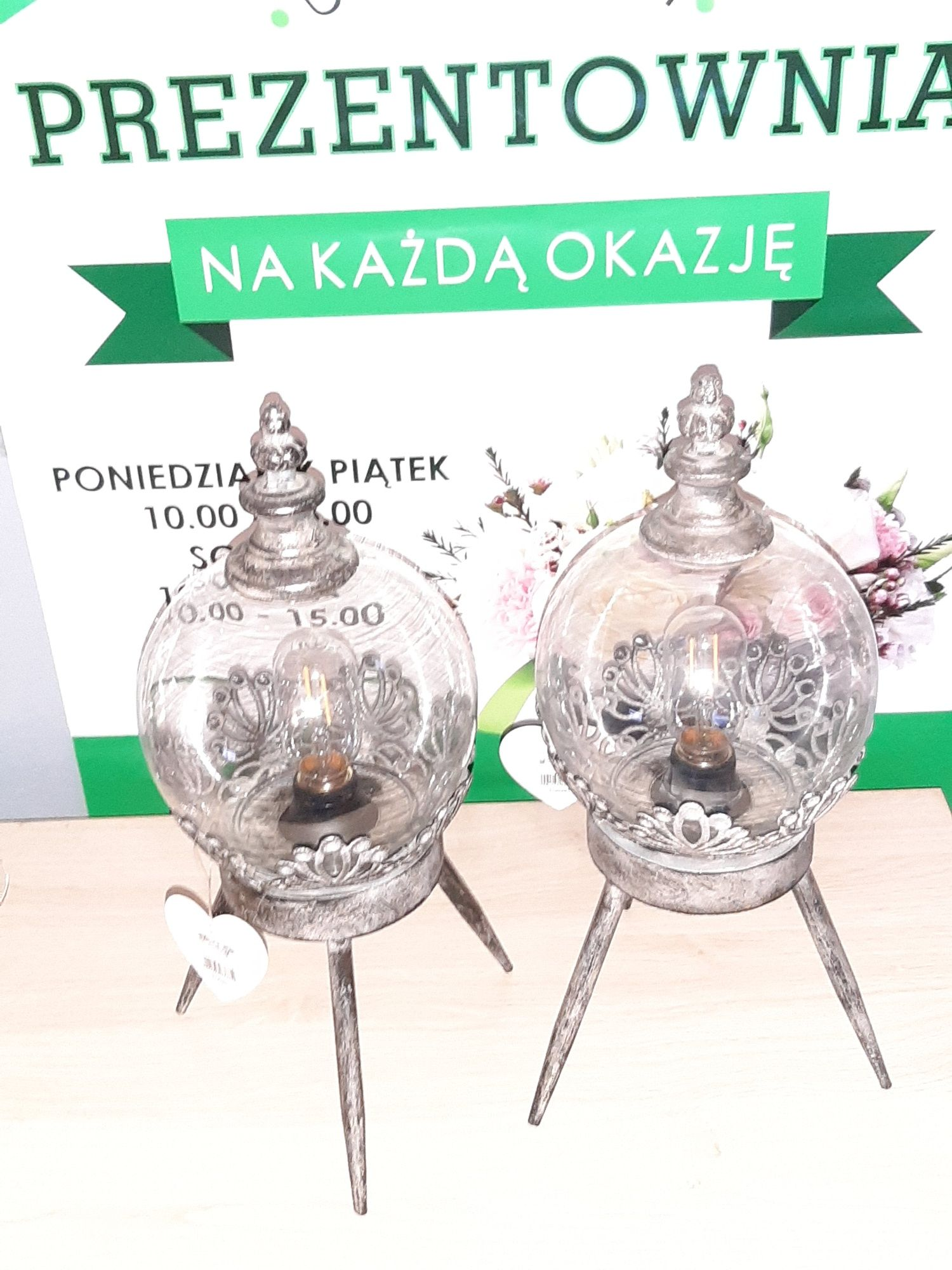 Lampion Metalowo Szklany