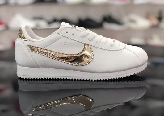 Nike Cortez/ Rozmiar 37 Białe - Złote *WYPRZEDAŻ*