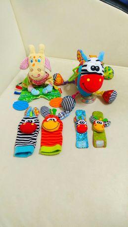 Развивающие игрушки погремушки грызунок браслеты