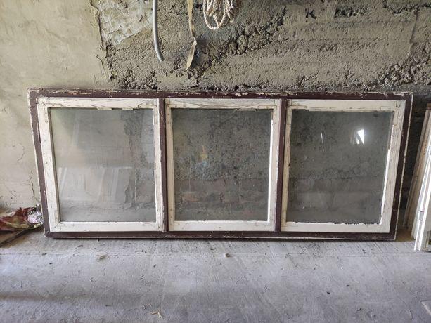Okno trzy szybowe, drewniane
