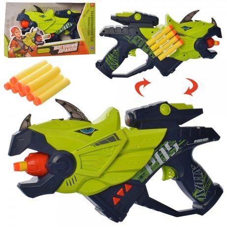 Пистолет М 5564 динозавр,31см,звук,свет,мягкие пули 8шт,на бат-