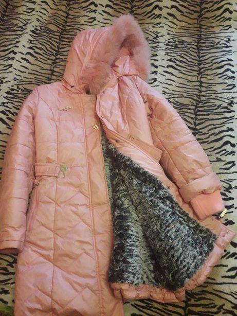 Пальто розовое,синее